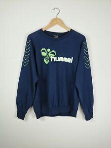 VTG 80s 90s HUMMEL Sweatshirt Jumper Spell Out Logo Navy Rare   Medium M