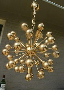 Mid century 1970 Sputnik metal gold gild Chandelier pendant lamp