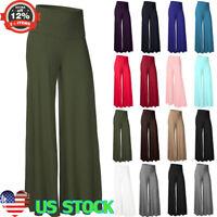 Women High Waist Trouser Wide Leg Palazzo Yoga Soild Loose Pants S-3XL Plus Size