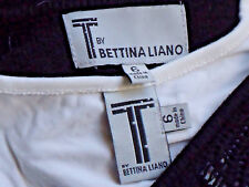 BETTINA LIANO BlackStretchOpenKnitWhiteLinedMiniSize6 NWoT