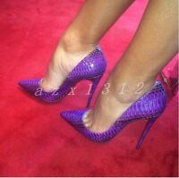Sexy Ladies Leather Stiletto Nightclub Pointed Toe Womens OL Dress Slip On Shoes