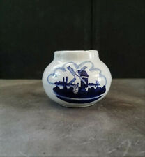 Ceramic Dutch Windmill Canister Jar Blue and White 2""