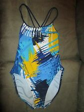 Nike Sz 12 38 Graphic BlkBluYellTealWh Swim Bathing Suit_Fully Lined_WhiteSwoosh