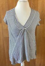 Anthropologie Postmark 9-HI5 Womens Shirt Small Short Sleeve Top Black Striped