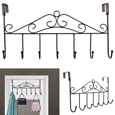 Over the Door Hanger Rack Holder Organize Storage Home Office 7 Hooks Brown