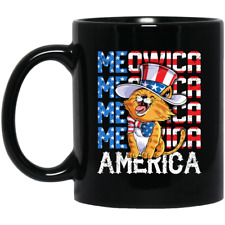 Meowica 4Th Of July Merica Cat American Flag Uncle Sam Black Mug Funny Gift Cup