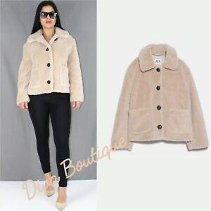 Zara AW 2019/20 Faux Shearling Fleece Jacket Coat Free P&P Brand New