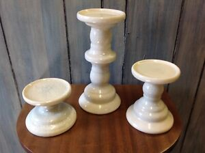 """Lot of 3 Candle holders, 9.5"""", 5.5"""", 3.5"""" tall, cream color, ceramic, good condi"""