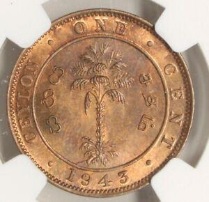 Ceylon 1943 Cent 1c MS 66 RB NGC 721I