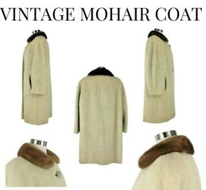 Del Mod International Mohair Coat w/Fur Collar Vintage 1950s-60s Women's Size 14