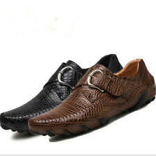 Mens Leather Animal Pattern Buckle Breathable Driving Moccasins Loafers Shoes