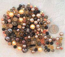 FREE SHIP 80g Brown Gold Mixed Bead Lot 4 - 11mm Crystals Pearls Wood Miracle