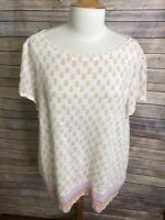 J Jill Sz Xl White Pink Orange Print 100% Linen Short Sleeve Blouse Shirt Top