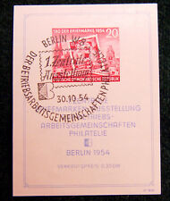Beautiful 1st Day of Issue 1954 Germany DDR 20 Mark The day of Stamps Minisheet