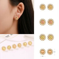 1 Pair Women Boho Cat's Eye Pearl Crystal Rhinestone Gold Lady Ear Stud Earrings