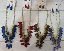 Wholesale Lot Bulk 4 Necklaces Earring Sets Mixed Colors Dangle Beaded NWT W1