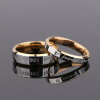 Titanium Steel Love Forever Couple Ring Promise Wedding Engagement Band Jewelry