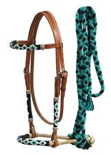 Showman Teal Beaded Show Bridle Headstall Leather Bosal Cotton Mecate Reins
