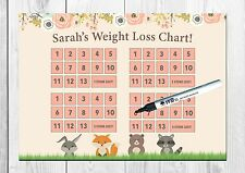 Personalised Weight Loss Chart, Weight Watchers, Woodland Animal Cute REUSABLE