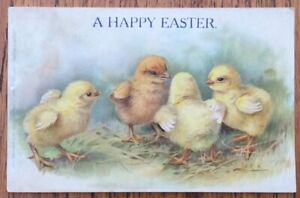 Victorian/Edwardian Easter Greetings Postcard With Chicks, Unposted.