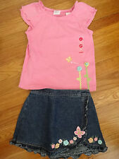 NWT Gymboree Girls Butterfly Palm Springs Top Ruffle Skort Summer Outfits Set 3T