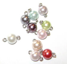 Charm Handmade USA Pearl Silver Gold Copper Wire Wrapped Bead, 10 COLORS, 10 Qty