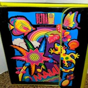 Vintage Lisa Frank Ultra Neo MAUI BINDER Gecko Trapper 90s 80s Pineapple Neon