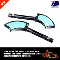 Pair of Quality Motorcycle 8MM 10MM CNC AXE Aluminum Rear View Side Mirrors CNC