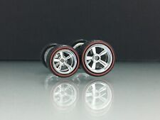 R122 Hot Wheels 1/64 SET> 5 Spoke Redline 12 & 14 mm+, Rubber ,Real Riders,Tires