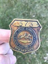 EARLY ANTIQUE MEMPHIS TENNESSEE BRASS POST OFFICE BADGE PONY EXPRESS IMAGE NICE