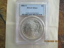 Vintage 1882 S Certified PCGS MS-63 Silver Morgan Dollar