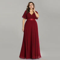 Ever-Pretty Plus Size Burgundy Bridesmaid Dress Chiffon A Line Party Gown 09890