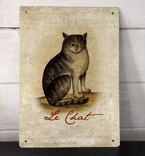Le Chat Vintage Francés Gato atigrado Shabby Chic A4 Metal Cartel Placa Imagen