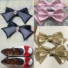 A Pair Lolita Shoe Clips Charms Mary Jane Shoes Bow PU Leather Shoe Decor Black