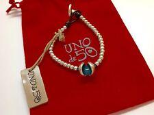"NWT Uno de 50 Silvertone Beaded Bracelet w/ Turquoise Resin Stone  6.5""  $89"
