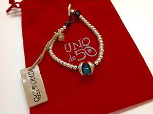 "NWT Uno de 50 Silvertone Beaded Bracelet w/ Turquoise Resin Stone  6.50"" $89"