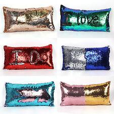 Reversible Mermaid Sequin Glitter Pillow Case Cushion Cover Car Home Sofa Decor