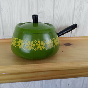 Retro Fondue Pot Avocado Green Yellow Floral Japan Mid Century Modern Vintage