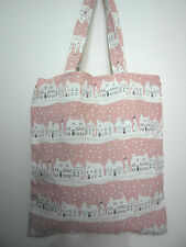 Cotton Linen Tote Shopping Handbag Shoulder Bag Women Girl Purse-Pink House