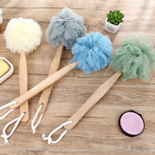 Shower Scrubber Loofah Sponge Bath Back Brush Cleaner with Wooden Long Handle