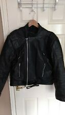 Classic/ Cafe racer style black leather motorcycle jacket Vintage size M