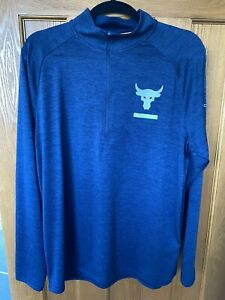 Under Armour Project Rock 1/2 Zip Pullover Training Gym Top - Blue - Mens Large