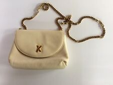 PALOMA PICASSO - Cream Leather Cross Body Bag Purse Handbag With Gold Chain