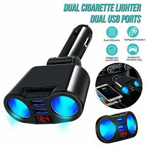 Car LCD Lighter Socket Splitter Dual USB Charger Power Adapter DC QC11