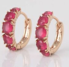 18K Yellow gold Ruby Hoop Earrings 244