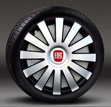"""Adornos De Plata/Negro 16"""" rueda, Tapacubos, cubre para caber Fiat Punto, Doblo MK3, Scudo"""
