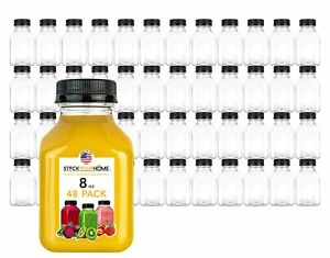 Stock Your Home 8 oz Empty Plastic Juice Bottles with Caps - 48 pack
