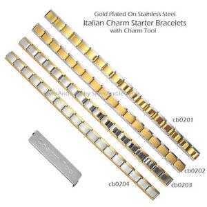 Gold Tone Italian Charms Stainless Steel Starter Bracelet 9mm 18 Links + Tool