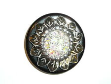 Silver Toned Large Sunflower Metal Button w/ Czech Crystal AB Rhinestones 1-3/4""