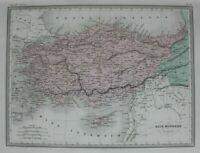ANCIENT ASIA MINOR, TURKEY, CYPRUS, original antique map, Malte-Brun, Huot c1882